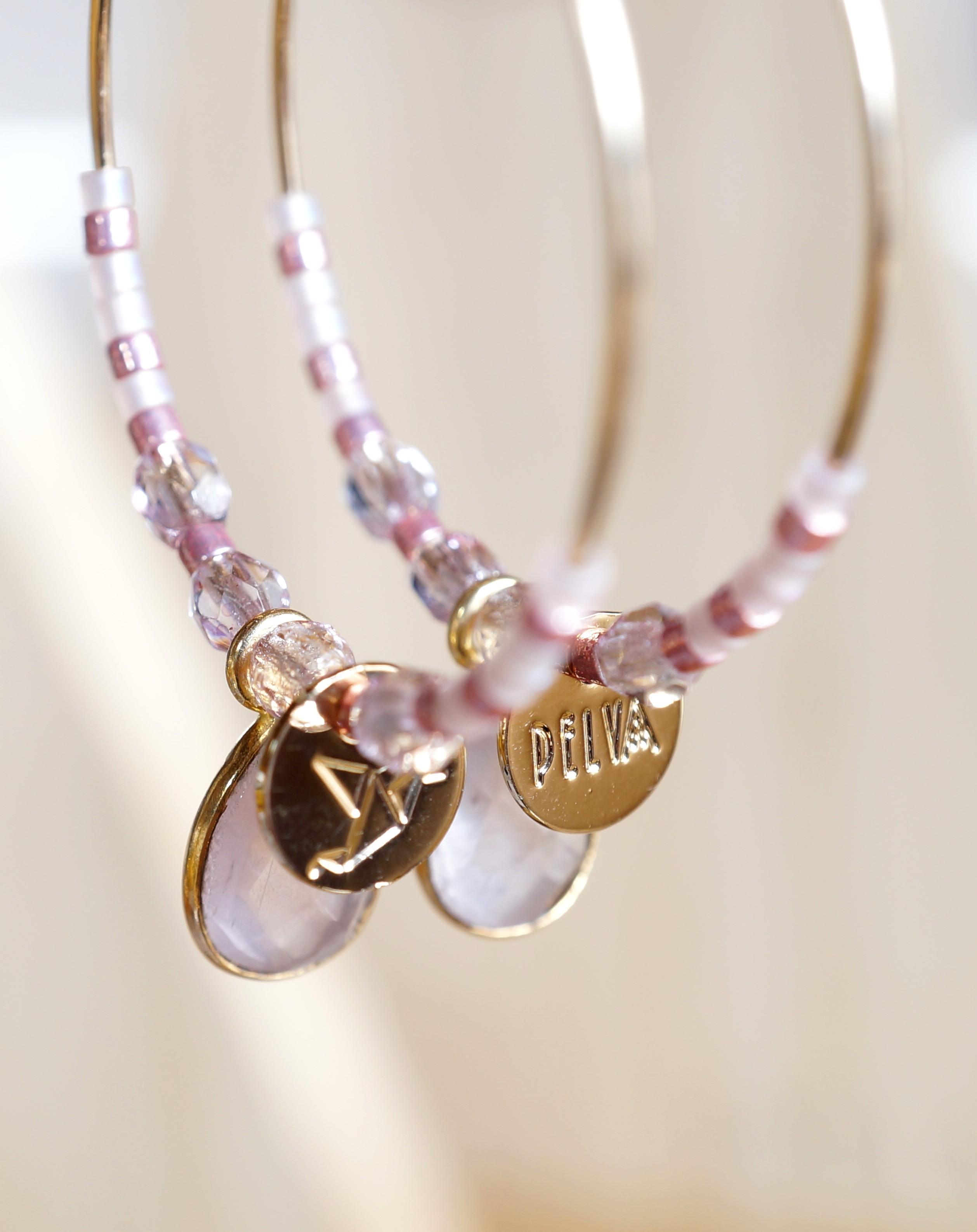 créoles quartz rose