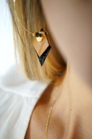 créoles plaqué or et cuir